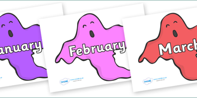 Months of the Year on Ghosts (Multicolour) - Months of the Year, Months poster, Months display, display, poster, frieze, Months, month, January, February, March, April, May, June, July, August, September