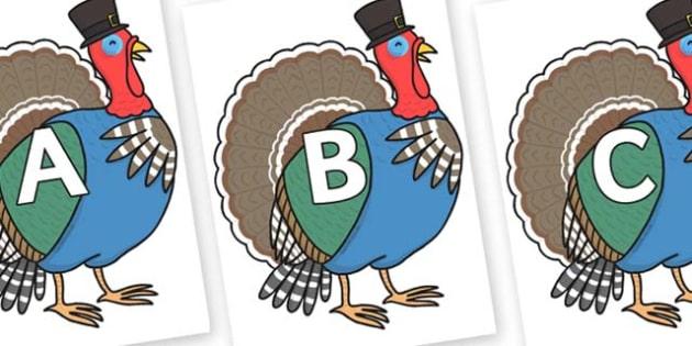 A-Z Alphabet on Turkey Lurky - A-Z, A4, display, Alphabet frieze, Display letters, Letter posters, A-Z letters, Alphabet flashcards