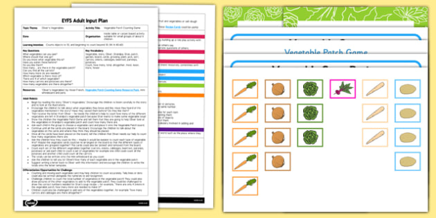 EYFS Vegetable Patch Counting Game Adult Input Plan and Resource Pack