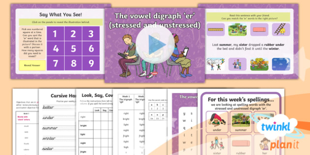 PlanIt English Y1 Term 2A W3: Stressed and Unstressed 'er' Spelling Pack - Spellings Year 1, Term 2A, Week 4, vowel digraph, 'er', stressed, unstressed, schwa