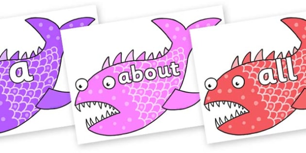 100 High Frequency Words on Fish to Support Teaching on Sharing a Shell - High frequency words, hfw, DfES Letters and Sounds, Letters and Sounds, display words