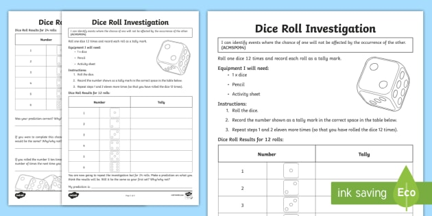 dice roll investigation worksheet worksheet worksheet probability. Black Bedroom Furniture Sets. Home Design Ideas