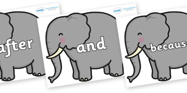 Connectives on Elephants - Connectives, VCOP, connective resources, connectives display words, connective displays