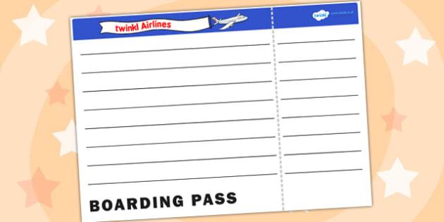 Blank Plane Ticket Template - plane ticket, template, writing template, writing aid, blank template, blank, plane ticket template, blank writing template