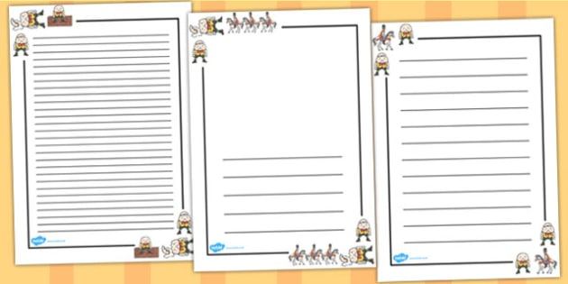 Humpty Dumpty Page Borders - Humpty Dumpty, page border, border, writing template, frame, nursery rhyme, rhyme, rhyming, nursery rhyme story, nursery rhymes, position, Humpty Dumpty resources