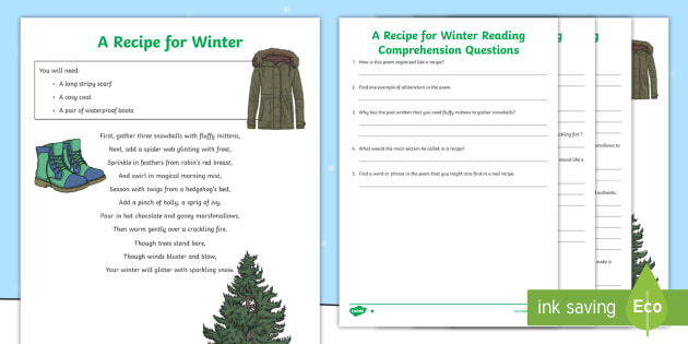 ks2 a recipe for winter poem differentiated worksheet worksheet. Black Bedroom Furniture Sets. Home Design Ideas