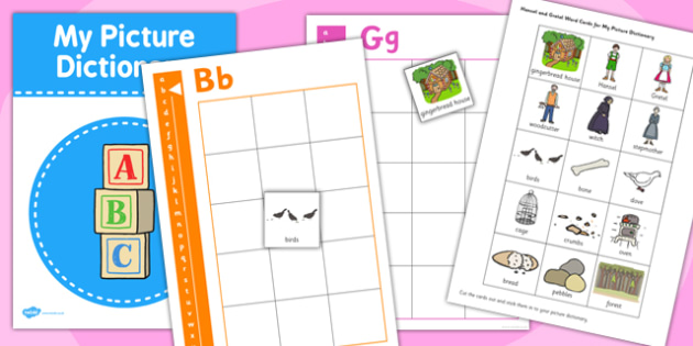Picture Dictionary Hansel and Gretel Word Cards - picture dictionary, dictionary