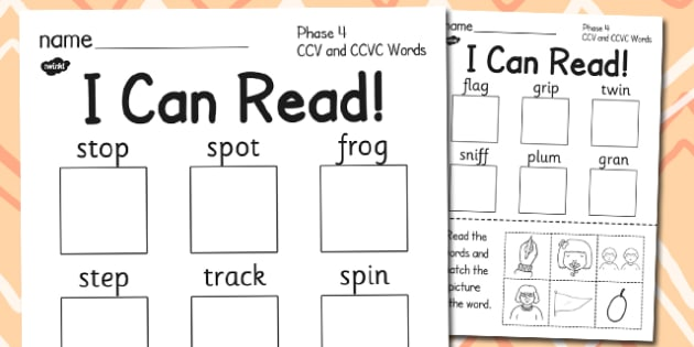 I Can Read Phase 4 Ccv And Ccvc Words Worksheet Activity Sheet