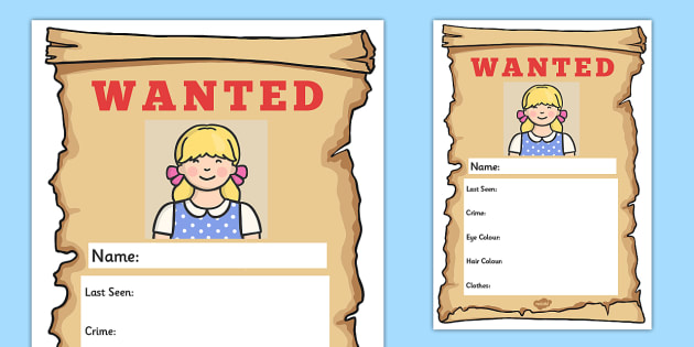 Goldilocks Wanted Poster Writing Frames - Goldilocks