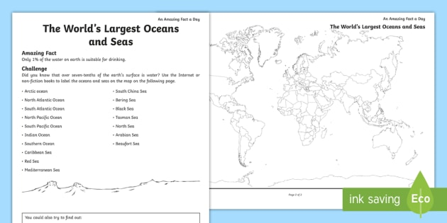 The worlds largest oceans and seas worksheet activity sheet the worlds largest oceans and seas worksheet activity sheet ocean sea around gumiabroncs Images