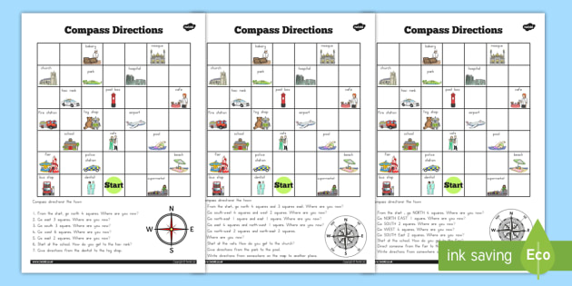 Compass Directions Worksheet Australia Compass Directions
