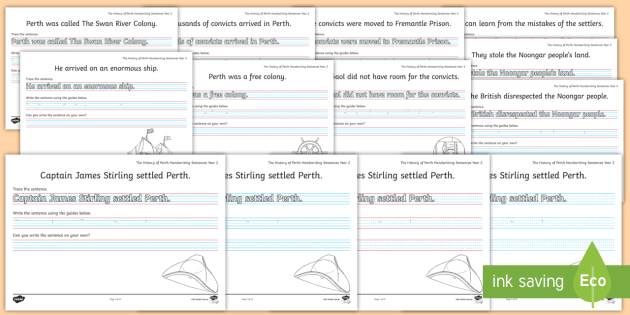 Cursive History of Perth Year 2 Handwriting Practice Worksheets