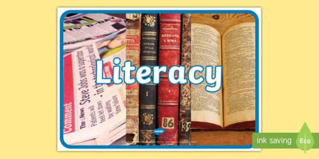 Literacy Photo Display Poster - English, photograph, books, visual
