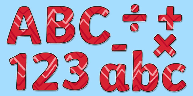 Red Zig Zag Display Lettering - red, zig zag, display lettering, display, letter
