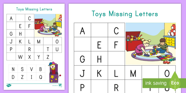 Toys Missing Letters Cut And Paste Activity (teacher Made)