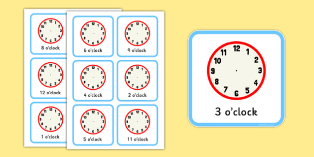 Write the Time O'clock Cards - write, time, o'clock, cards, clocks