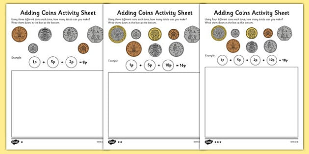 adding coins worksheet money addition resources. Black Bedroom Furniture Sets. Home Design Ideas