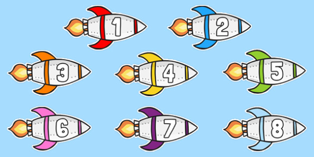 Numbers 1-20 on Rockets Cut Outs - numbers, 1-20, rockets, cut outs, space