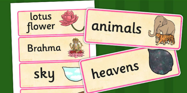 Hindu Creation Story Word Cards - hinduism, religion, visual aid
