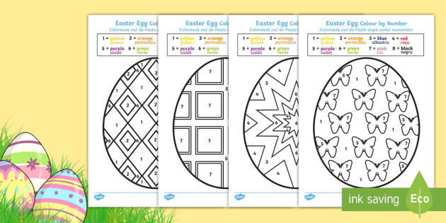Easter Egg Colouring By Numbers Sheets English Romanian