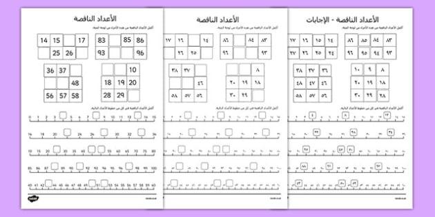 ورقة نشاط الأعداد الناقصة, worksheet