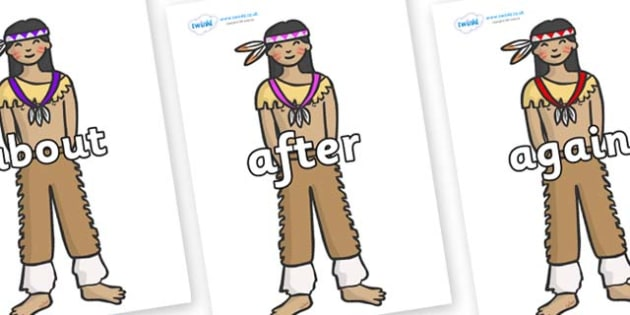 KS1 Keywords on Native Americans - KS1, CLL, Communication language and literacy, Display, Key words, high frequency words, foundation stage literacy, DfES Letters and Sounds, Letters and Sounds, spelling