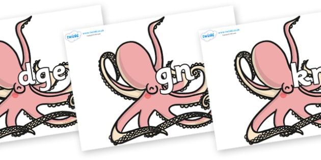 Silent Letters on Octopuses - Silent Letters, silent letter, letter blend, consonant, consonants, digraph, trigraph, A-Z letters, literacy, alphabet, letters, alternative sounds