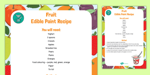 Fruit Edible Paint Recipe to Support Teaching on The Very Hungry Caterpillar - EYFS, early years, fruit, paint, eat, hungry, caterpillars, minibeasts, eric carle,