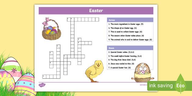 Children S Easter Crossword Puzzle Teacher Made Resources