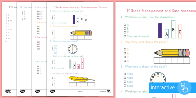 image about 1st Grade Assessment Test Printable identified as Initially Quality Dimensions and Facts Examination Educate