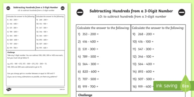 Subtracting Hundreds from 3 Digit Number Worksheet Year 3 - Maths
