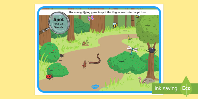 Phase 5 ue Words Minibeasts Scene Magnifying Glass Activity Sheet - phonics, letters and sounds, phase 5, ue sound, magnifier, magnifying glass, find, activity, group,