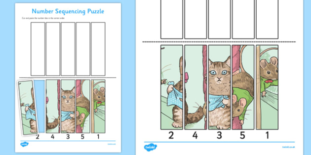 Beatrix Potter - The Story of Miss Moppet Number Sequencing Puzzle - beatrix potter, miss moppet
