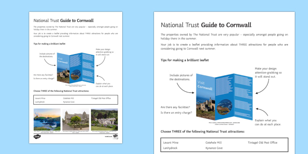 National Trust in Cornwall Worksheet / Activity Sheet - Geography Club, geography, national trust, holiday, tourism, extension, homework.