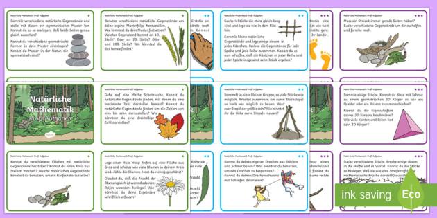 Mathe Aufgaben für Draußen: DIN A6 Karteikarten