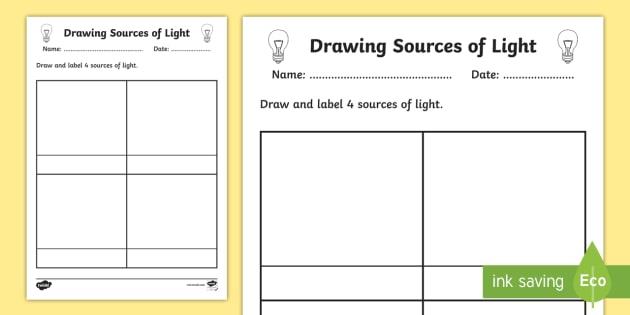 Sources Of Light Worksheet Worksheet Light Sources Of Light