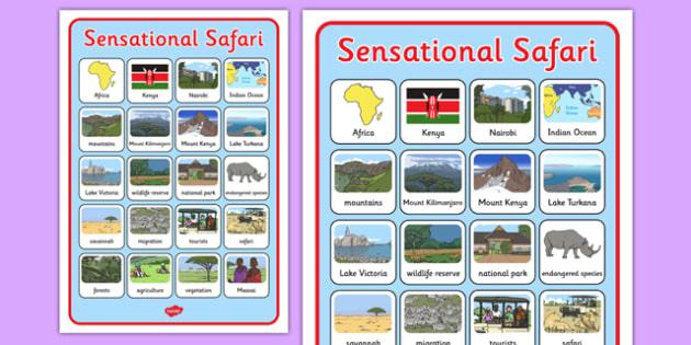 Sensational Safari Word Grid - sensational safari, safari, word grid, word, grid