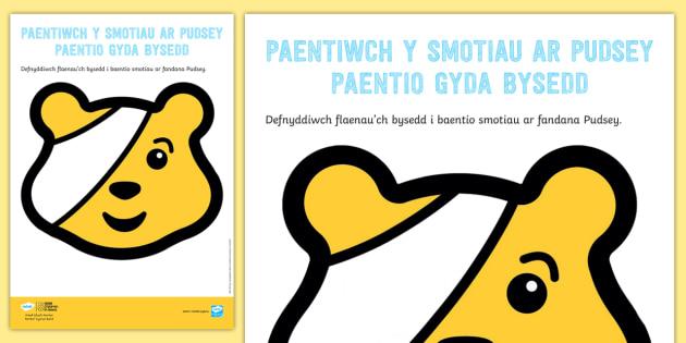 Gweithgaredd Paentio Gyda Bysedd Rhowch y Smotiau ar Pudsey