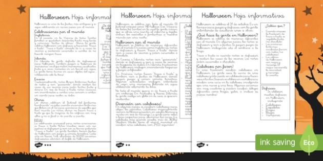 Halloween por el mundo Hoja informativa-Spanish