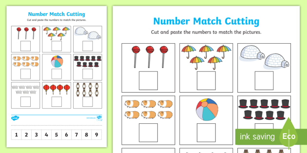 Number Matching Cut and Paste (1 to 9) Worksheet / Worksheet ...
