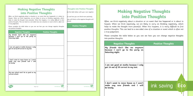 Making Negative Thoughts into Positive Thoughts Worksheet ...