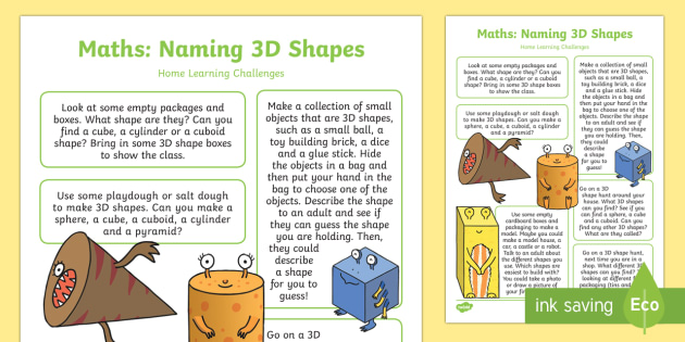 onlinebutik heta produkter New York EYFS Maths: Naming 3D Shapes Home Learning Challenges