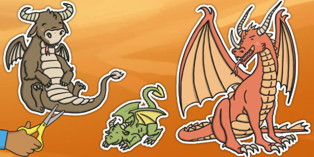 Dragon Stick Puppets - stick puppets, puppets, dragon, dragons