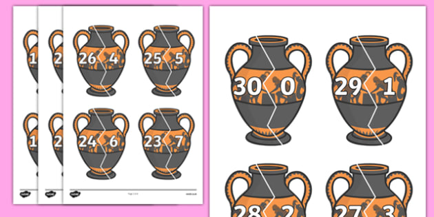 Number Bonds to 30 on Ancient Vases - number bonds, history number bonds, number bonds on greek vases, number bonds to 30, ks2 number bonds, ks2 history