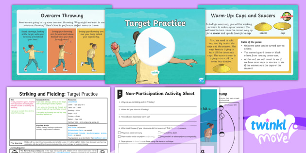 Twinkl Move - Year 3 Striking and Fielding Lesson 2 - Target Practice Lesson Pack - PE, Physical Education, exercise, sports, Year 3, planning, plans, powerpoint, throwing, val sabin,