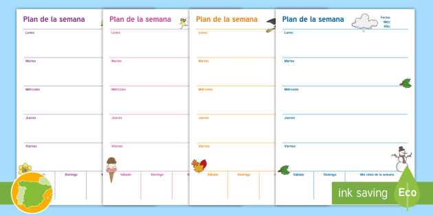 Semana Calendario.Plantilla De Planificacion Plan Semanal Plantilla Semana Calendario