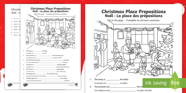 christmas place prepositions fill in the gaps worksheet worksheet. Black Bedroom Furniture Sets. Home Design Ideas