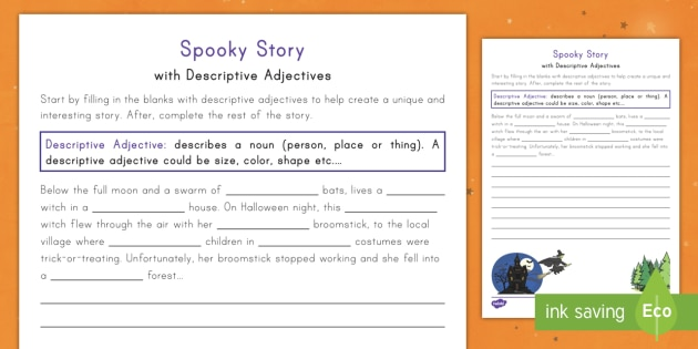 Spooky Story Opener with Descriptive Adjectives Worksheet