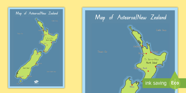 New Zealand Map In World Map.New Zealand World Map Display Poster