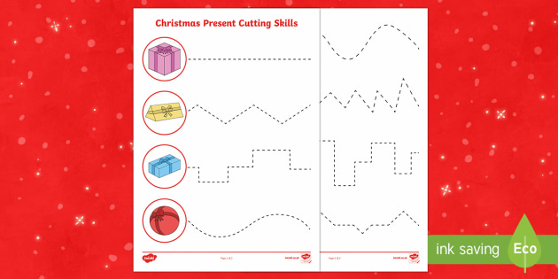 Christmas Present Cutting Skills Activity Sheet
